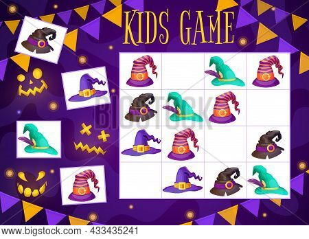 Halloween Kids Maze Game Wizard And Witch Hats Sudoku Riddle For Children Activity. Vector School, K