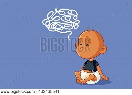 Puzzled Baby Learning Language Vector Cartoon Illustration