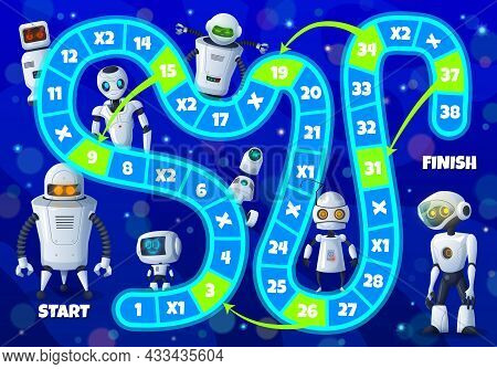 Kids Board Game With Robots And Androids, Vector Step Boardgame With Cute Ai Droids, Cyborgs, Block