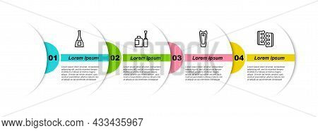 Set Line Bottle Of Nail Polish, , Nail Cutter And Toe Separator For Pedicure. Business Infographic T
