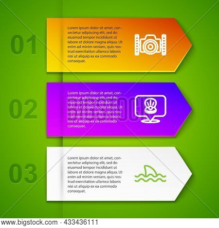 Set Line Photo Camera For Diver, Scallop Sea Shell And Shark. Business Infographic Template. Vector