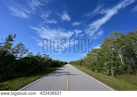 Beautiful High Altitude Late Summer Cloudscape Over Main Park Road In Everglades National Park, Flor