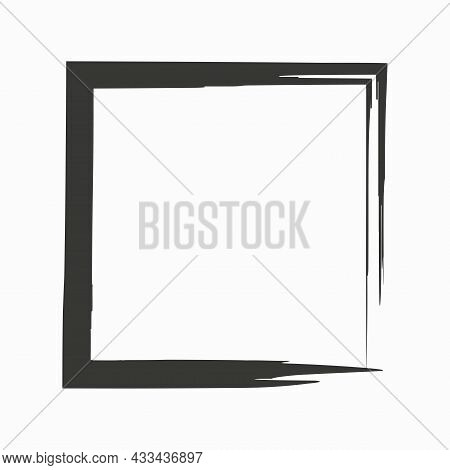 Doodle Square Frame Icon. Gray Element. Handdrawn Picture. Brush Stroke Style. Vector Illustration.