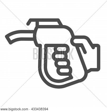 Fuel Pump Nozzle In Hand, Petrol Station Line Icon, Oil Industry Concept, Gasoline Vector Sign On Wh