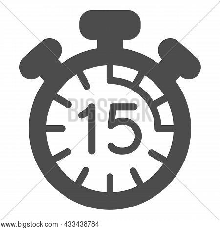 Stopwatch With Buttons, 15 Seconds, Timer, Chronometer Solid Icon, Time Concept, Clock Vector Sign O