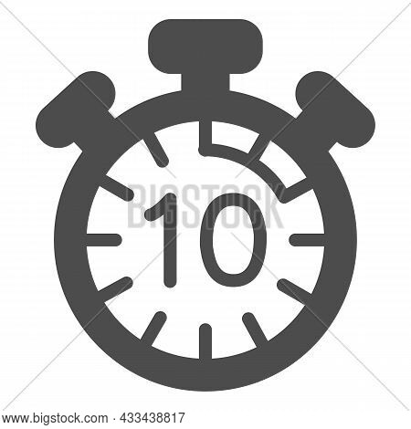 Stopwatch With Buttons, 10 Seconds, Timer, Chronometer Solid Icon, Time Concept, Clock Vector Sign O
