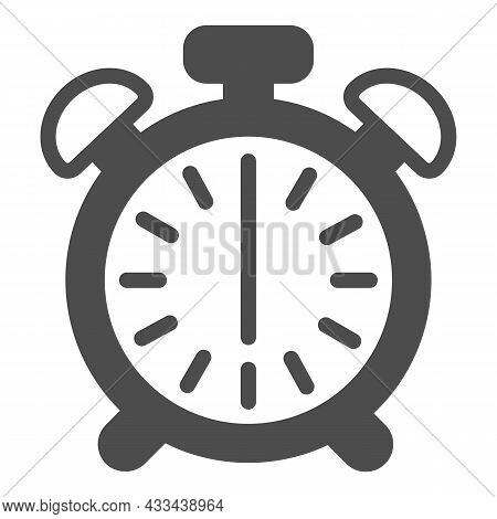 Vintage Alarm Clock With Button, 6 Pm, 6 Am Solid Icon, Time Concept, Timepiece Vector Sign On White