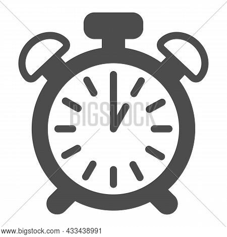 Vintage Alarm Clock With Button, 1 Pm, 1 Am Solid Icon, Time Concept, Timepiece Vector Sign On White