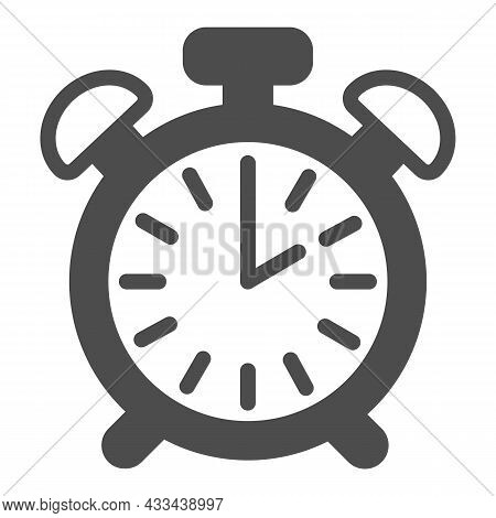 Vintage Alarm Clock With Button, 2 Pm, 2 Am Solid Icon, Time Concept, Timepiece Vector Sign On White