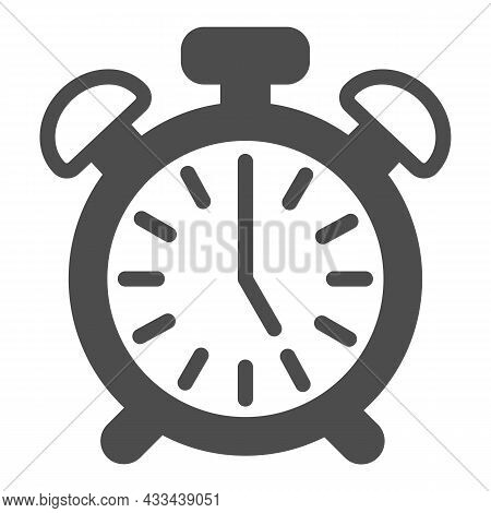 Vintage Alarm Clock With Button, 5 Pm, 5 Am Solid Icon, Time Concept, Timepiece Vector Sign On White