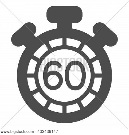 Stopwatch With Buttons, 60 Seconds, Timer, Chronometer Solid Icon, Time Concept, Clock Vector Sign O