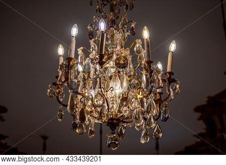 Buenos Aires, Argentina, January 30, 2021: Glamorous Chandeliers From Majestic Old French Like Archi