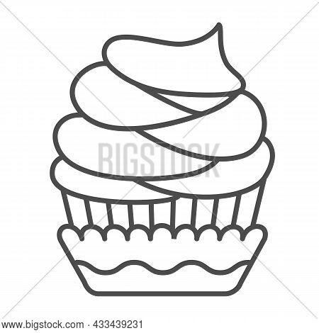Cupcake With Frosting And Chocolate Chips Thin Line Icon, Pastry Concept, Muffin Icing Vector Sign O