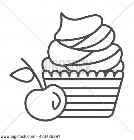 Cherry Cupcake With Whipped Cream Frosting Thin Line Icon, Pastry Concept, Cherry Muffin Vector Sign