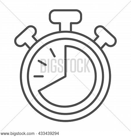 Stopwatch With Buttons, 40 Seconds, Timer, Chronometer Thin Line Icon, Time Concept, Clock Vector Si