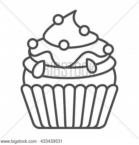 Cupcake With Jam And Sugar Beads Sprinkles Thin Line Icon, Pastry Concept, Fluffy Muffin Vector Sign