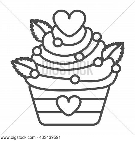 Cupcake With Hearts And Sprinkles For Valentine Day Thin Line Icon, Pastry Concept, Muffin Vector Si