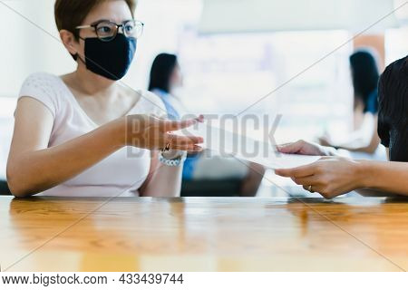 Business Successful Concept Businesswoman Giving Contract Paper To Partner For Signing