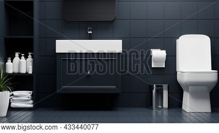 Modern Luxury Bathroom Interior With Toilet Bowl, Stylish Cabinet And Basin