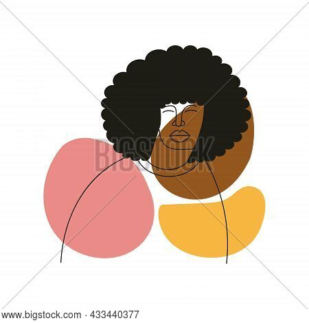 Abstract Line Drawing Aesthetic Portrait African Man With Stylish Long Hairstyle. Minimalist Concept