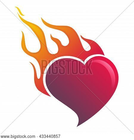 Vector Illustration Of Burning Heart. Simple Illustration Of Heart And Flaming Fire. Suitable For Ro
