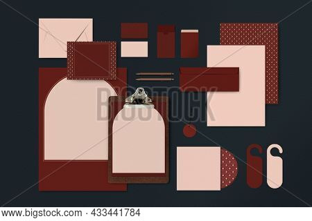 Blank corporate identity set in muted red tone