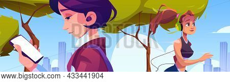 Town Park With Girl Run And Woman Using Mobile Phone. Vector Cartoon Illustration Of Morning Citysca