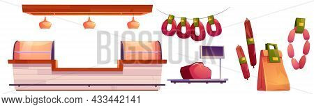 Meat Market Stall, Beef, Pork On Scales, Sausages And Paper Pack. Vector Cartoon Set Of Butcher Shop