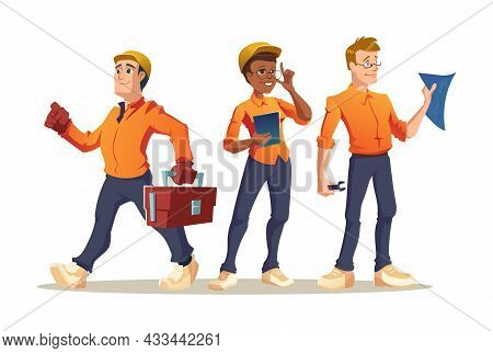 Construction Workers Builder, Engineer Or Foreman Characters With Tools And Blueprint. Architect Wit