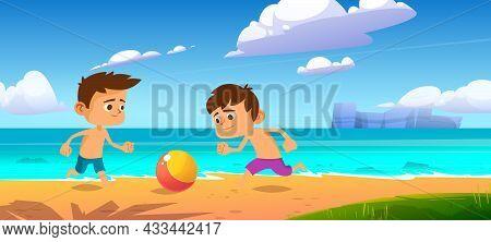 Kids Playing Ball At Summer Beach, Boys Play At Sea Shore, Outdoor Fun, Family Vacation And Holidays