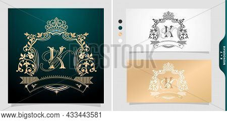Set Of Labels With Elements A Initial  Letter Ky Or Yk. Graphic Name Title. Frame Border Of Floral D