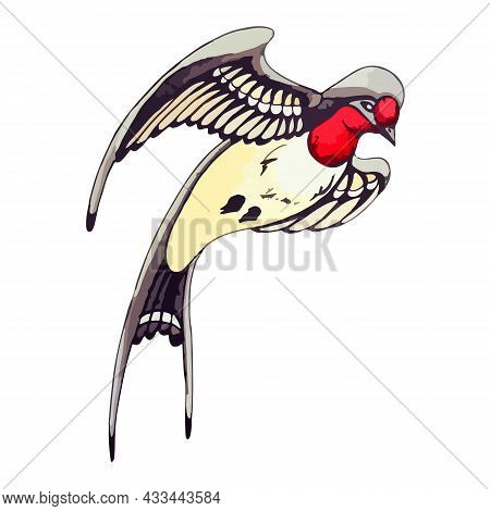 Flying Swallow In Watercolor Style. Swift Hovers In The Air To Decorate A Postcard Or Flyer. Spring