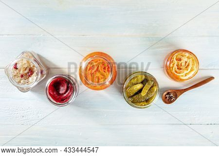 Fermented Food. Canned Vegetables. Pickled Carrot, Beetroot, Sauerkraut And Other Organic Preserves