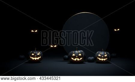 Halloween Background With Scary Faces Pumpkins Are Glowing In Dark. Black And Gold Template For Hall