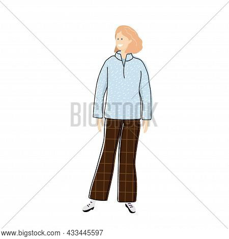 Girl In Warm Sweatshirt And Trousers. Casual Cozy Clothes. Warm Clothes For Home, Recreation, Sports