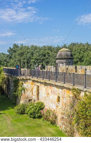 Bad Bentheim, Germany - August 15, 2021: Surrounding Wall Of The Historic Castle In Bad Bentheim, Ge