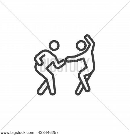 Salsa Dancers Line Icon. Linear Style Sign For Mobile Concept And Web Design. Couple Dancing Salsa O