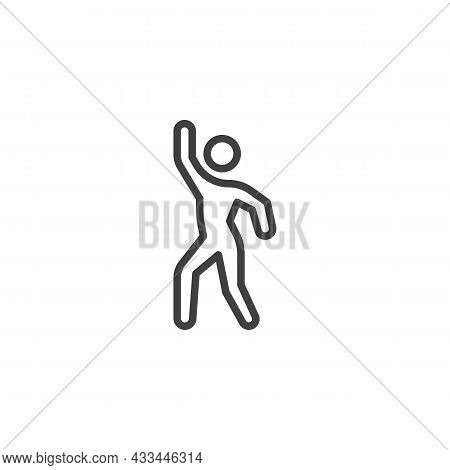 Dancing Man Line Icon. Linear Style Sign For Mobile Concept And Web Design. Solo Dancer Outline Vect