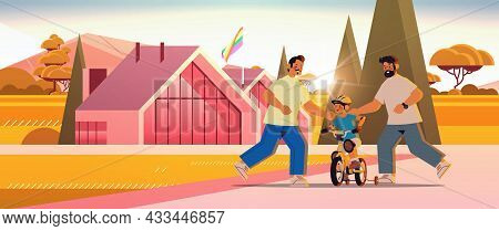 Male Parents Teaching Little Son To Ride Bike Gay Family Transgender Love Lgbt Community Concept