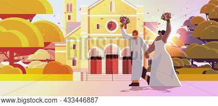 Newlywed Lesbian Couple With Flowers Standing Together Near Church Transgender Love Lgbt Community W