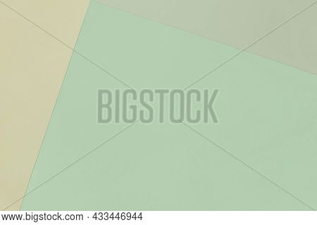 Paper Geometric Pastel Background In Green Colors With Copy Space