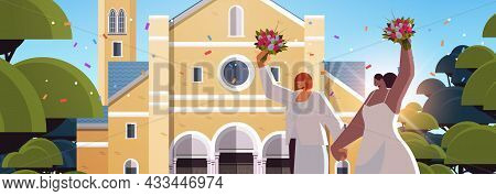 Newlywed Lesbian Couple With Flowers Standing Near Church Transgender Love Lgbt Community Wedding Ce