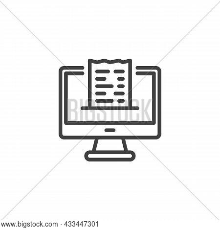 Online Payment Checkout Line Icon. Linear Style Sign For Mobile Concept And Web Design. Desktop Comp