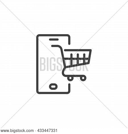 Mobile Shopping Line Icon. Linear Style Sign For Mobile Concept And Web Design. Mobile Device With S