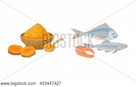 Tumeric Orange Powder In Bowl And Fish As Healthy Balanced Food Vector Set