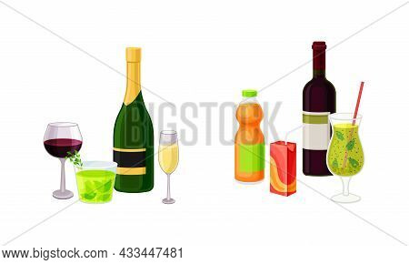 Wine And Sparkling Soda Water In Bottle And Cocktail Glass As Harmful Drink Vector Set