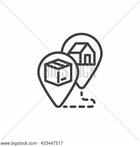 Track Order Line Icon. Linear Style Sign For Mobile Concept And Web Design. Shipment Tracking Outlin