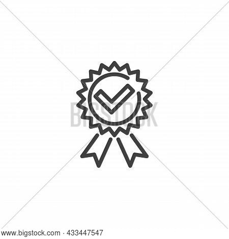 Quality Award Line Icon. Linear Style Sign For Mobile Concept And Web Design. Medal With Check Mark