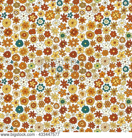 70s Retro Flower Vector Seamless Pattern. Groovy Vintage Floral Repeat Pattern With Flowers, Simple