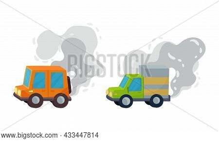 Car And Motor Road Vehicle Emitting Exhaust Gas Contaminating Air Vector Set